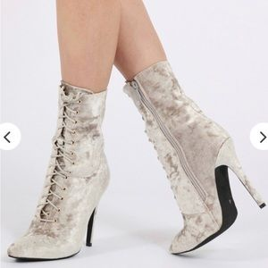 JULISSA CRUSHED VELVET LACE UP ANKLE BOOTS